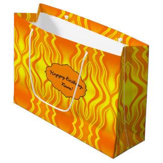 Heatwaves Orange Yellow Abstract Large Gift Bag