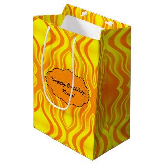 Heatwaves Orange Yellow Abstract Medium Gift Bag