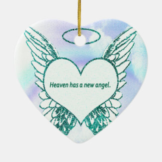 Heaven has a New Angel Ceramic Heart Decoration
