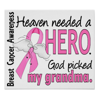 Heaven Needed A Hero Grandma Breast Cancer Print