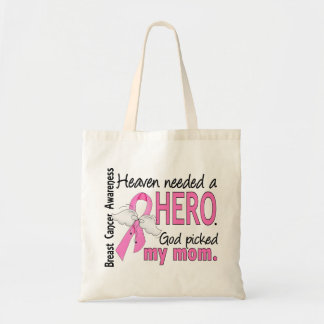 Heaven Needed A Hero Mom Breast Cancer Tote Bags