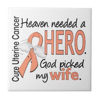 Heaven Needed Hero Uterine Cancer Wife Small Square Tile