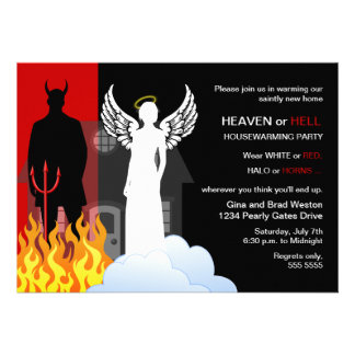 Heaven or Hell Housewarming Party Custom Invites