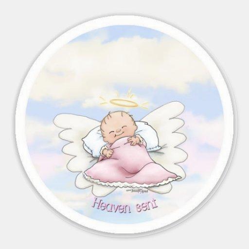 Heaven Sent - Angel Baby Girl Round Sticker