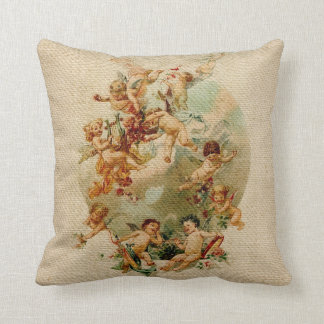 Heavenly Angel Cherubs Vintage Script Burlap Cushion