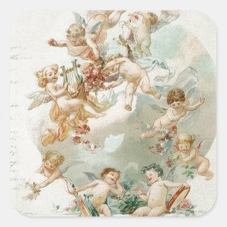 Heavenly Angel Cherubs Vintage Script Square Sticker