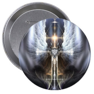 Heavenly Angel Wing Cross Fractal Art Button 4 Inch Round Button