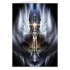 Heavenly Angel Wing Cross Fractal Greeting Card