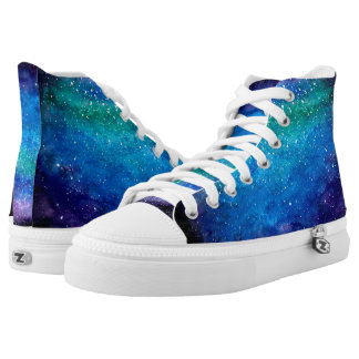 Heavenly Blue High Tops | Unisex Galaxy Printed Shoes