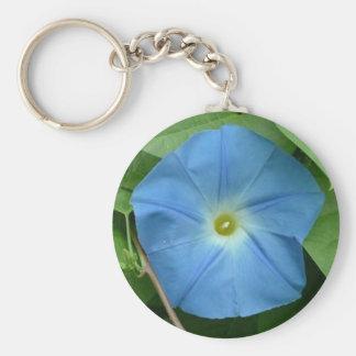 Heavenly Blue Morning Glory Basic Round Button Key Ring