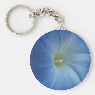 Heavenly Blue Morning Glory Close-Up Basic Round Button Key Ring