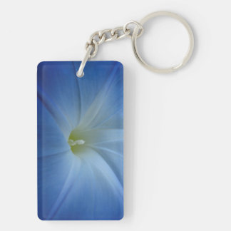 Heavenly Blue Morning Glory Close-Up Double-Sided Rectangular Acrylic Key Ring