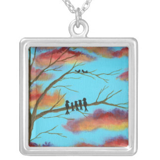 Heavenly Gifts Square Pendant Necklace Painting