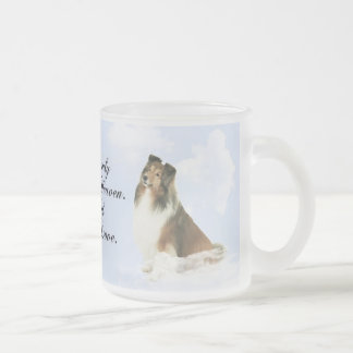 Heavenly Grace Sheltie Frosted Glass Coffee Mug