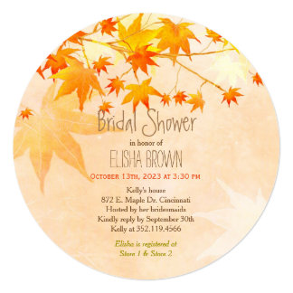 Heavenly Maple Fall Bridal Shower Card