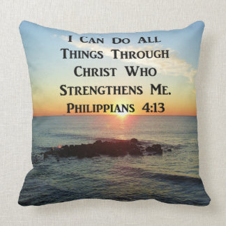 HEAVENLY PHILIPPIANS 4:13 BIBLE VERSE CUSHION