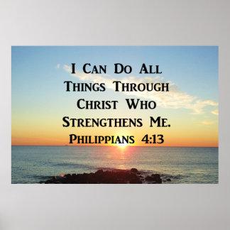 HEAVENLY PHILIPPIANS 4:13 BIBLE VERSE POSTER