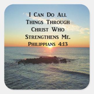 HEAVENLY PHILIPPIANS 4:13 SCRIPTURE DESIGN SQUARE STICKER