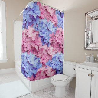 Heavenly Pink and Baby Blue Hydrangeas Shower Curtain