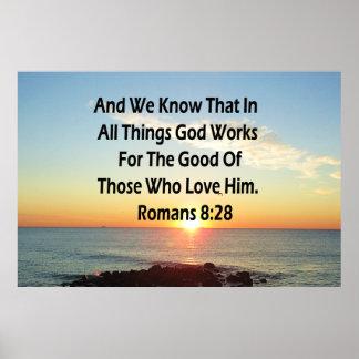 HEAVENLY ROMANS 8:28 BIBLE VERSE POSTER