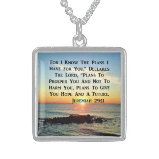 HEAVENLY SUNRISE JEREMIAH 20:11 VERSE STERLING SILVER NECKLACE