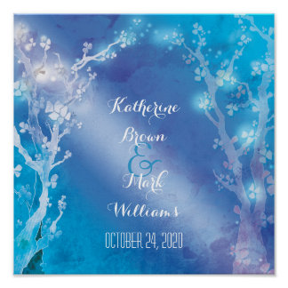 Heavenly Trees Shimmering Blue Wedding Posters