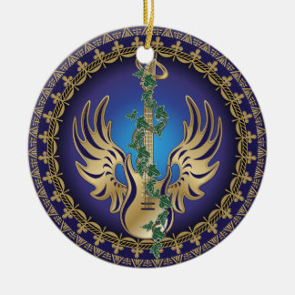 Heavenly Winged Guitar Ceramic Ornament