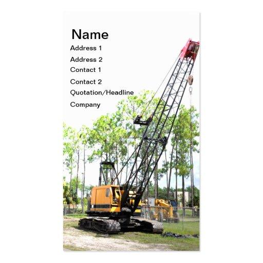 heavy duty construction crane business card template