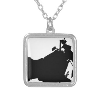 Heavy Duty Motorcycle Silhouette Silver Plated Necklace