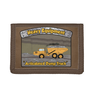 Heavy Equipment Articulated Dump Truck Tri-fold Wallets
