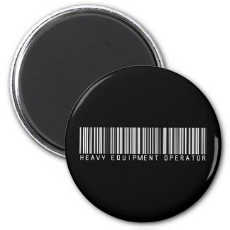 Heavy Equipment Operator Bar Code 6 Cm Round Magnet