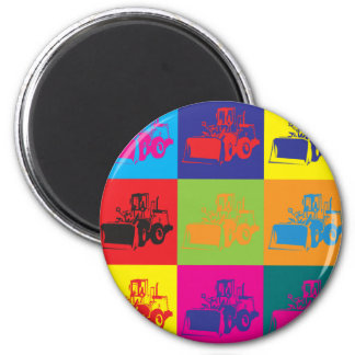 Heavy Equipment Pop Art 6 Cm Round Magnet