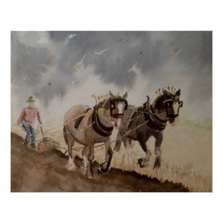 Heavy Horses Ploughing under a Heavy Sky Poster