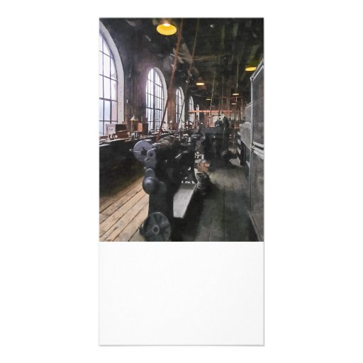 Heavy Machine Shop With Lamps Customized Photo Card