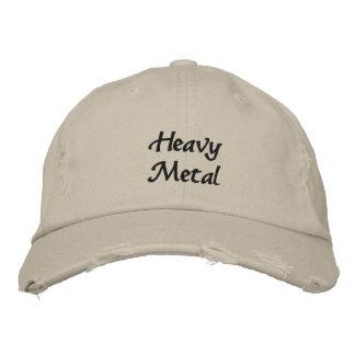 Heavy Metal Embroidered Dark Text Baseball Cap