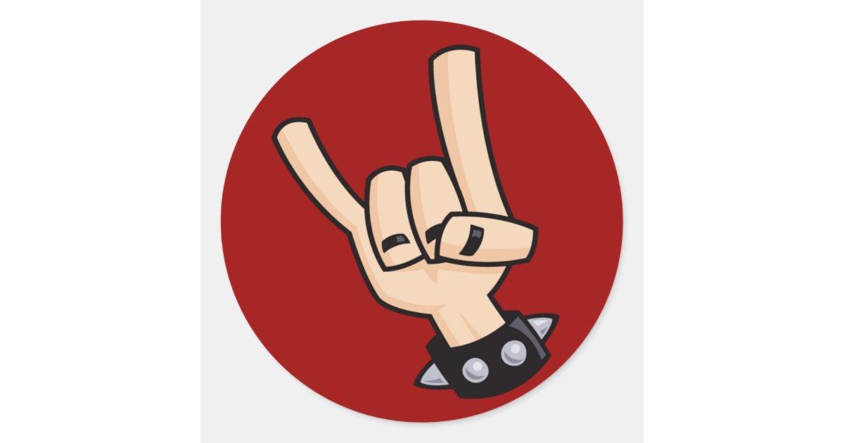 heavy metal hand sign classic round sticker zazzle com au