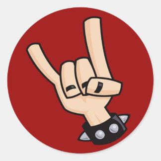 Heavy metal hand sign round sticker