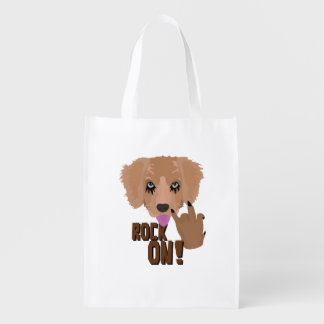Heavy metal Puppy rock on Reusable Grocery Bag