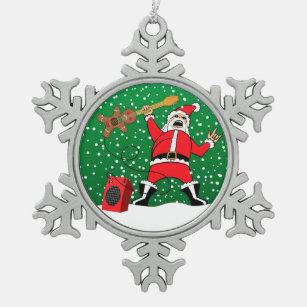 heavy metal santa snowflake pewter christmas ornament
