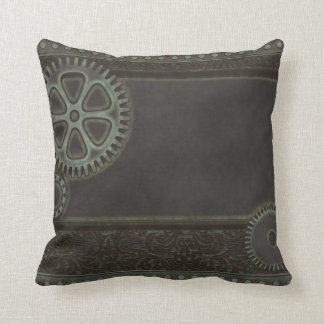 Heavy Metal Steampunk Cog and Bolt Pillow