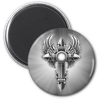 Heavy Tribal Winged Cross Design Magnets