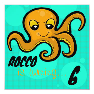 Heba the Octopus Custom Birthday Party Invitation