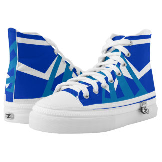 Heber Royal Denim and White Triad High Top Printed Shoes