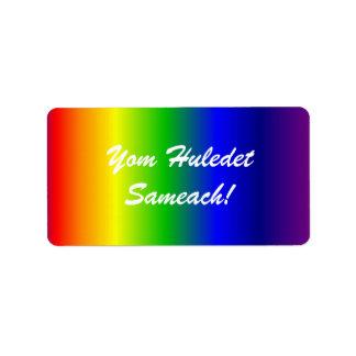 Hebrew Birthday Rainbow Colors Label Address Label