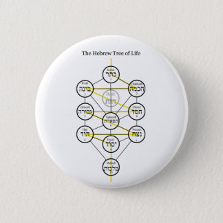 Hebrew Kabbalistic Tree of Life with Flaming Sword 6 Cm Round Badge