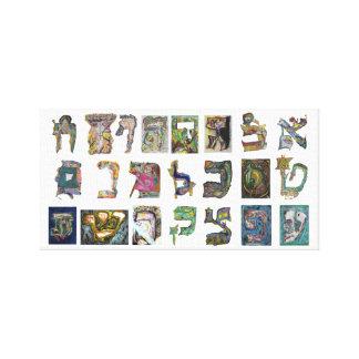 Hebrew letters alphabet canvas print
