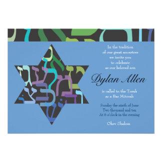 Hebrew Letters Star Bar Bat Mitzvah Invitation