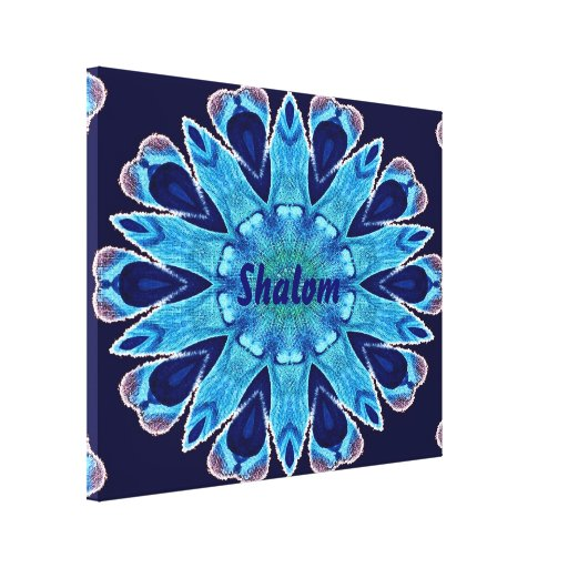 Hebrew Shalom Blue Hearts Wrapped Canvas Poster Gallery Wrap Canvas