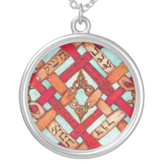 hebrew words for love round pendant necklace