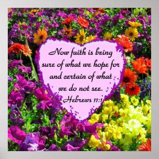 HEBREWS 11:1 FLORAL DESIGN POSTER